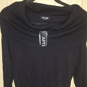 NWT Misses M Apt 9 Black large collar sweater